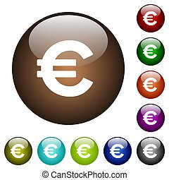 Euro sign color glass buttons