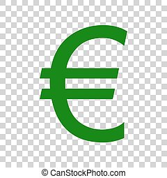 Euro sign. Dark green icon on transparent background.