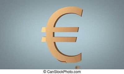 euro sign destruction concept over grey