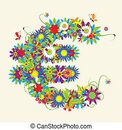 Euro sign. Floral design. See also signs in my gallery