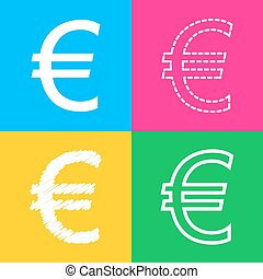Euro sign. Four styles of icon on four color squares.