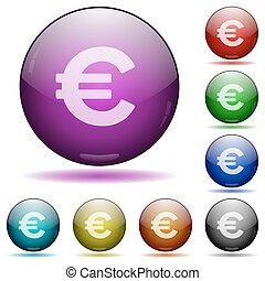 Euro sign glass sphere buttons