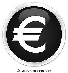 Euro sign icon black glossy round button