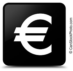 Euro sign icon black square button