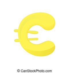 Gold Coin With Euro Sign Icon Cartoon Style Gold Coin With Euro