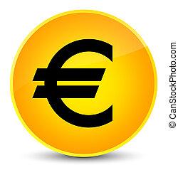 Euro sign icon elegant yellow round button