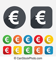 Euro sign icon. EUR currency symbol. Money label. Circles and rounded squares 12 buttons. Vector