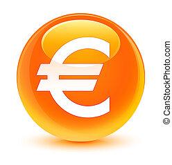 Euro sign icon glassy orange round button
