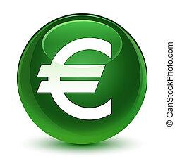 Euro sign icon glassy soft green round button