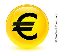 Euro sign icon glassy yellow round button