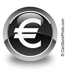 Euro sign icon glossy black round button