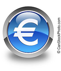 Euro sign icon glossy blue round button