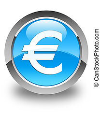 Euro sign icon glossy cyan blue round button
