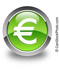 Euro sign icon glossy green round button