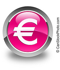 Euro sign icon glossy pink round button