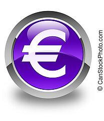 Euro sign icon glossy purple round button