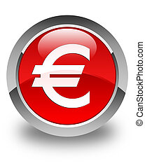 Euro sign icon glossy red round button