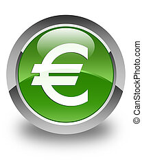 Euro sign icon glossy soft green round button