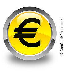 Euro sign icon glossy yellow round button
