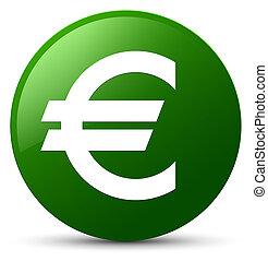 Euro sign icon green round button