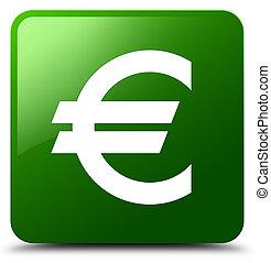 Euro sign icon green square button