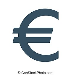 Euro sign icon on white background.