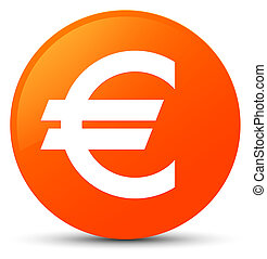 Euro sign icon orange round button
