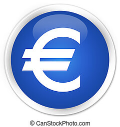 Euro sign icon premium blue round button