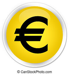 Euro sign icon premium yellow round button