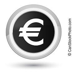 Euro sign icon prime black round button