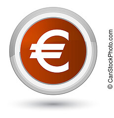 Euro sign icon prime brown round button
