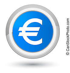 Euro sign icon prime cyan blue round button