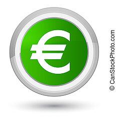 Euro sign icon prime green round button