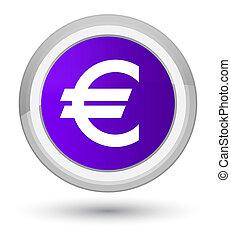 Euro sign icon prime purple round button