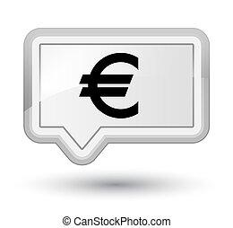 Euro sign icon prime white banner button