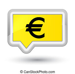 Euro sign icon prime yellow banner button