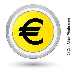 Euro sign icon prime yellow round button