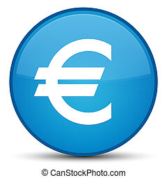 Euro sign icon special cyan blue round button