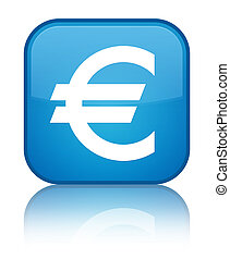 Euro sign icon special cyan blue square button