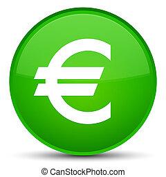 Euro sign icon special green round button