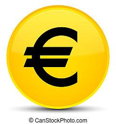 Euro sign icon special yellow round button
