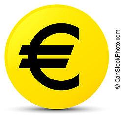 Euro sign icon yellow round button