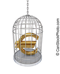 Euro sign in a birdcage.Isolated on white background.3d...