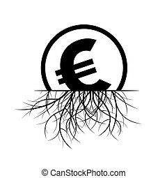 Euro sign in a circle and Roots. Black Vector Illustration.