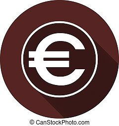 EURO sign in the contour of a circle with a shadow on a circle of dark red color, vector