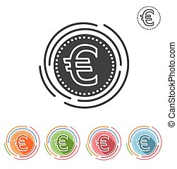 Euro sign Insulated flat icon on a white background