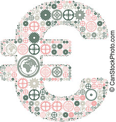 Euro sign made of colored gears