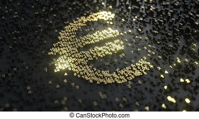 Euro sign made of gold numbers. Conceptual animation - Euro...