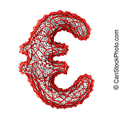 Euro sign made of red plastic with abstract holes isolated on white background. 3d