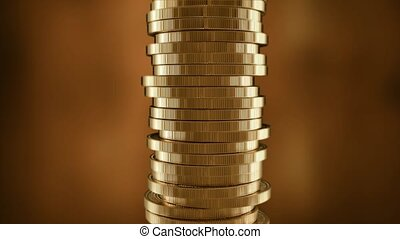 Euro sign on a stack of gold coins. European money.
